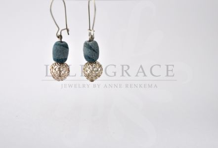 Blue coral earrings